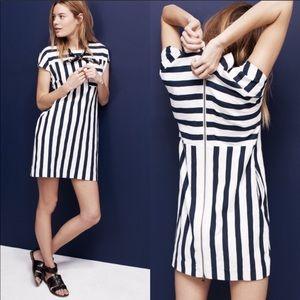 Madewell navy & white striped zipper mini dress